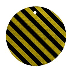 Stripes3 Black Marble & Yellow Leather Round Ornament (two Sides)