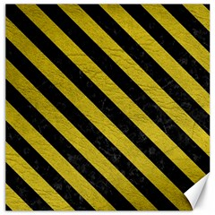 Stripes3 Black Marble & Yellow Leather Canvas 20  X 20