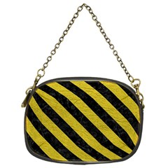 Stripes3 Black Marble & Yellow Leather Chain Purses (one Side)