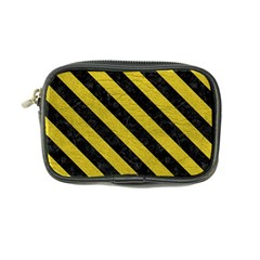 Stripes3 Black Marble & Yellow Leather Coin Purse
