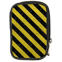 Stripes3 Black Marble & Yellow Leather Compact Camera Cases