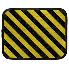 Stripes3 Black Marble & Yellow Leather Netbook Case (xxl)