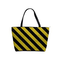 Stripes3 Black Marble & Yellow Leather Shoulder Handbags