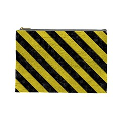 Stripes3 Black Marble & Yellow Leather Cosmetic Bag (large)