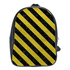 Stripes3 Black Marble & Yellow Leather School Bag (large)