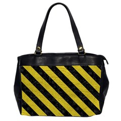 Stripes3 Black Marble & Yellow Leather Office Handbags (2 Sides)