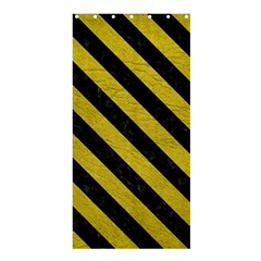 Stripes3 Black Marble & Yellow Leather Shower Curtain 36  X 72  (stall)