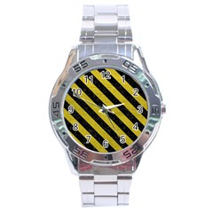 Stripes3 Black Marble & Yellow Leather Stainless Steel Analogue Watch