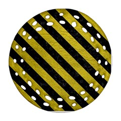Stripes3 Black Marble & Yellow Leather Round Filigree Ornament (two Sides)