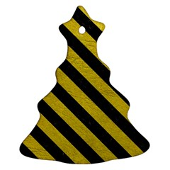 Stripes3 Black Marble & Yellow Leather Christmas Tree Ornament (two Sides)