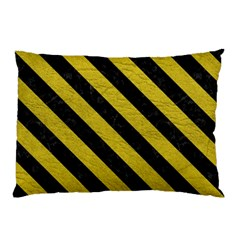 Stripes3 Black Marble & Yellow Leather Pillow Case (two Sides)