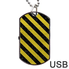 Stripes3 Black Marble & Yellow Leather Dog Tag Usb Flash (two Sides)