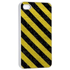 Stripes3 Black Marble & Yellow Leather Apple Iphone 4/4s Seamless Case (white)