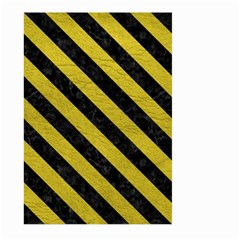 Stripes3 Black Marble & Yellow Leather Large Garden Flag (two Sides)