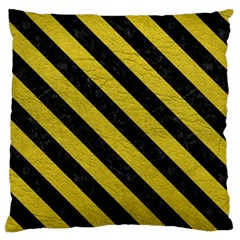 Stripes3 Black Marble & Yellow Leather Large Cushion Case (one Side)