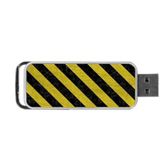 Stripes3 Black Marble & Yellow Leather Portable Usb Flash (two Sides)
