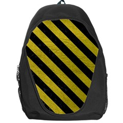 Stripes3 Black Marble & Yellow Leather Backpack Bag