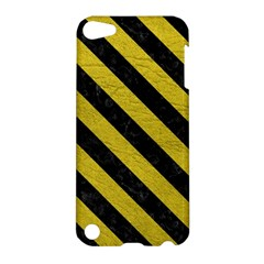 Stripes3 Black Marble & Yellow Leather Apple Ipod Touch 5 Hardshell Case