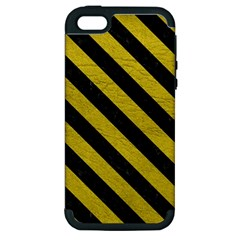 Stripes3 Black Marble & Yellow Leather Apple Iphone 5 Hardshell Case (pc+silicone)