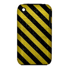 Stripes3 Black Marble & Yellow Leather Iphone 3s/3gs