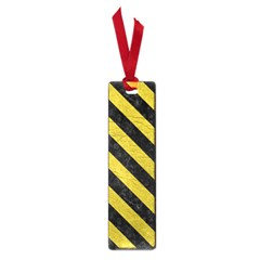 Stripes3 Black Marble & Yellow Leather Small Book Marks
