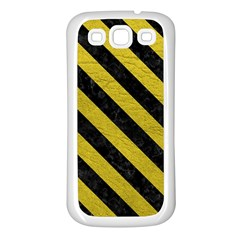 Stripes3 Black Marble & Yellow Leather Samsung Galaxy S3 Back Case (white)