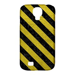 Stripes3 Black Marble & Yellow Leather Samsung Galaxy S4 Classic Hardshell Case (pc+silicone)