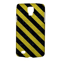 Stripes3 Black Marble & Yellow Leather Galaxy S4 Active