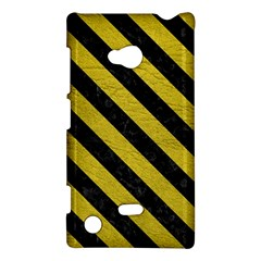 Stripes3 Black Marble & Yellow Leather Nokia Lumia 720