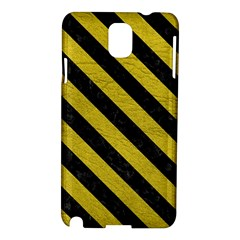 Stripes3 Black Marble & Yellow Leather Samsung Galaxy Note 3 N9005 Hardshell Case
