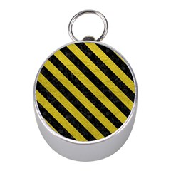 Stripes3 Black Marble & Yellow Leather Mini Silver Compasses