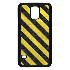 Stripes3 Black Marble & Yellow Leather Samsung Galaxy S5 Case (black)