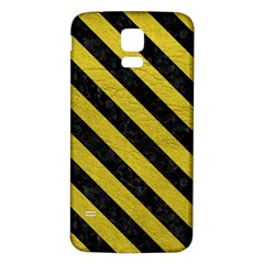 Stripes3 Black Marble & Yellow Leather Samsung Galaxy S5 Back Case (white)