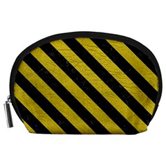 Stripes3 Black Marble & Yellow Leather Accessory Pouches (large)