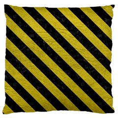 Stripes3 Black Marble & Yellow Leather Large Flano Cushion Case (two Sides)