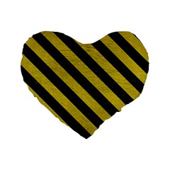 Stripes3 Black Marble & Yellow Leather Standard 16  Premium Flano Heart Shape Cushions