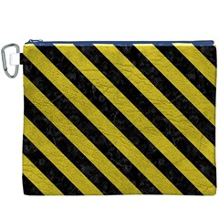 Stripes3 Black Marble & Yellow Leather Canvas Cosmetic Bag (xxxl)