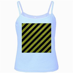 Stripes3 Black Marble & Yellow Leather (r) Baby Blue Spaghetti Tank