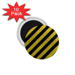 Stripes3 Black Marble & Yellow Leather (r) 1 75  Magnets (10 Pack)