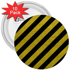 Stripes3 Black Marble & Yellow Leather (r) 3  Buttons (10 Pack)