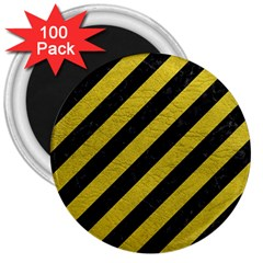 Stripes3 Black Marble & Yellow Leather (r) 3  Magnets (100 Pack)