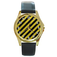 Stripes3 Black Marble & Yellow Leather (r) Round Gold Metal Watch