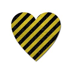 Stripes3 Black Marble & Yellow Leather (r) Heart Magnet