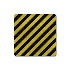 Stripes3 Black Marble & Yellow Leather (r) Square Magnet