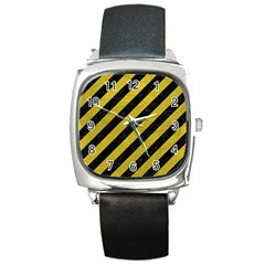Stripes3 Black Marble & Yellow Leather (r) Square Metal Watch