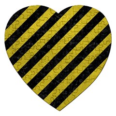 Stripes3 Black Marble & Yellow Leather (r) Jigsaw Puzzle (heart)
