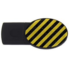Stripes3 Black Marble & Yellow Leather (r) Usb Flash Drive Oval (4 Gb)