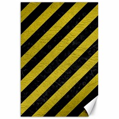 Stripes3 Black Marble & Yellow Leather (r) Canvas 20  X 30