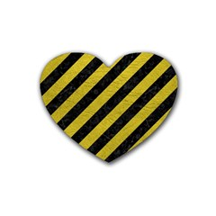 Stripes3 Black Marble & Yellow Leather (r) Rubber Coaster (heart)