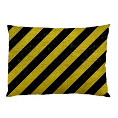 Stripes3 Black Marble & Yellow Leather (r) Pillow Case